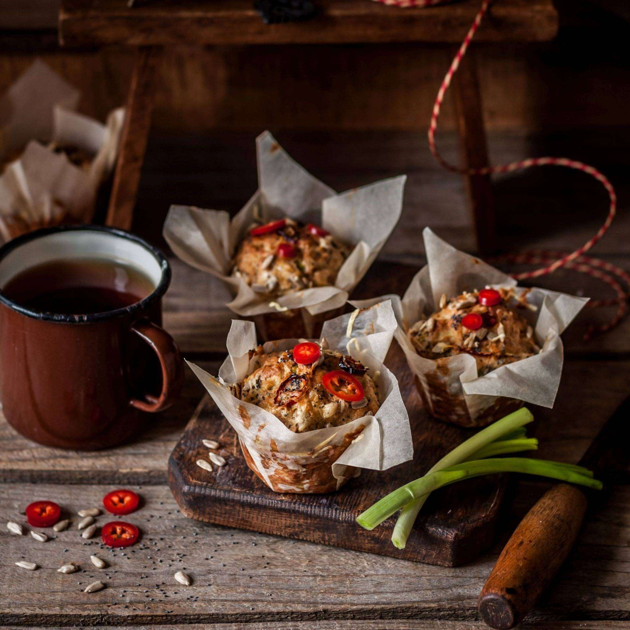 Savoury Potato Muffins with Chili, Poppy and Sunflower Seeds, nasiona